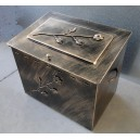 Firewood storage metallic box with lid, large
