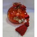 Ρόδι κόκκινο, γυάλινο με φυσαλίδες, χειροποίητο