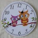 """Ρολόι τοίχου, ξύλινο """"κουκουβάγιες"""""""