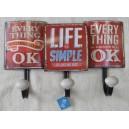 """Κρεμάστρα μεταλλική, τριπλή """"Life is simple"""""""