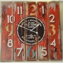 Ρολόι τοίχου, ξύλινο, κόκκινο