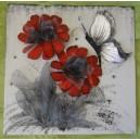 """Πίνακας-σύνθεση από μέταλλο και τεχνόδερμα """"πανσές"""""""