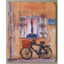 """Διακοσμητικό τοίχου """"ποδήλατο-πορτοκαλί τοίχος"""""""
